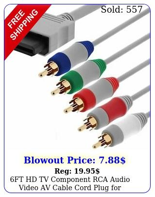 ft hd tv component rca audio video av cable cord plug nintendo wii u wi