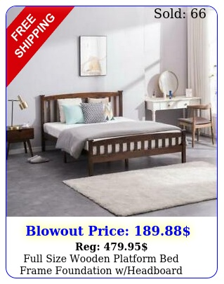 full size wooden platform bed frame foundation wheadboard wood slats walnu