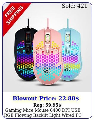 gaming mice mouse dpi usb rgb flowing backlit light wired pc laptop comput