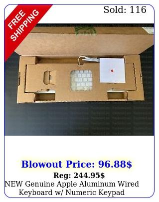 genuine apple aluminum wired keyboard w numeric keypad mbll