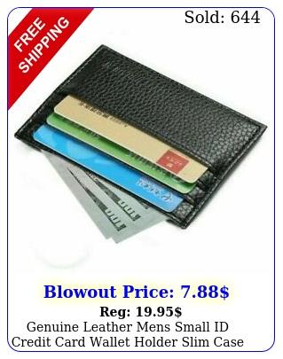 genuine leather mens small id credit card wallet holder slim case pocke
