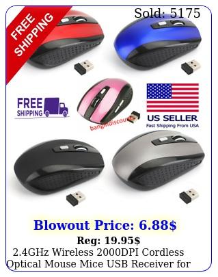 ghz wireless dpi cordless optical mouse mice usb receiver pc lapto