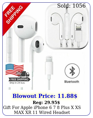 gift apple iphone  plus x xs max xr wired headset headphones earbud