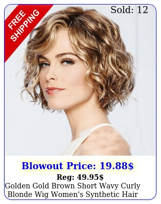 golden gold brown short wavy curly blonde wig women's synthetic hair fashio