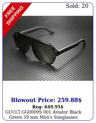 gucci ggs aviator black green mm men's sunglasse