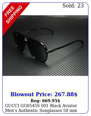 gucci ggs black aviator men's authentic sunglasses m