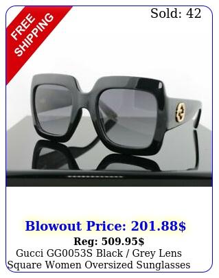 gucci ggs black grey lens square women oversized sunglasses u