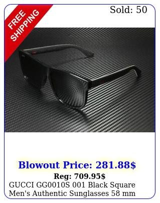 gucci ggs black square men's authentic sunglasses m