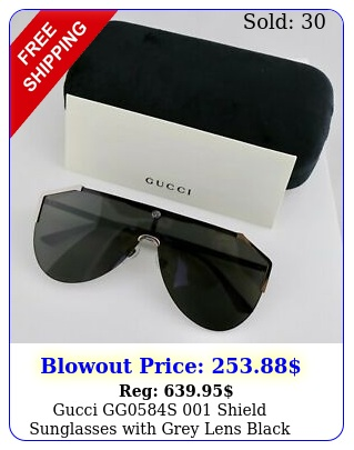 gucci ggs shield sunglasses with grey lens black arm