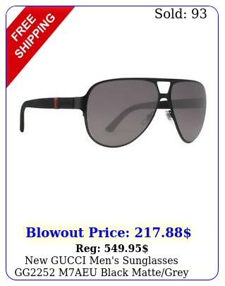 gucci men's sunglasses gg maeu black mattegrey lens aviator m