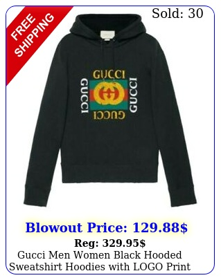 gucci men women black hooded sweatshirt hoodies with logo print size s m l x