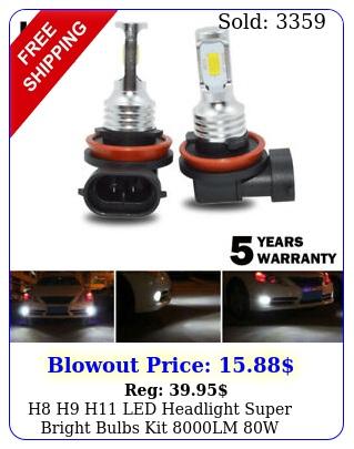h h h led headlight super bright bulbs kit lm w highlow beam