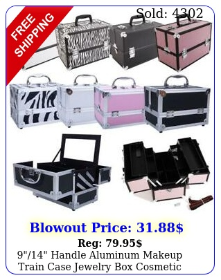 handle aluminum makeup train case jewelry cosmetic organizer storag