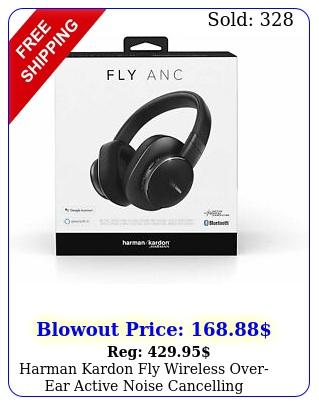 harman kardon fly wireless overear active noise cancelling headphones blac