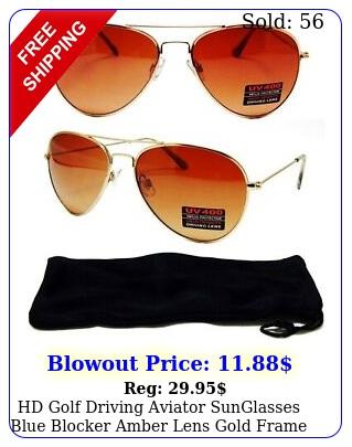 hd golf driving aviator sunglasses blue blocker amber lens gold frame glasse