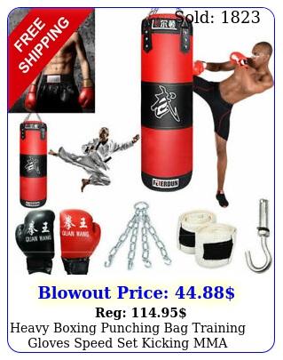 heavy boxing punching bag training gloves speed set kicking mma workout gy