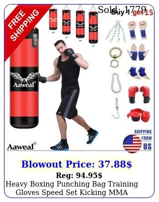 heavy boxing punching bag training gloves speed set kicking mma workout gym u