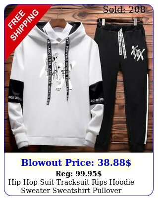 hip hop suit tracksuit rips hoodie sweater sweatshirt pullover wsports pant se