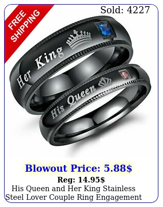 his queen king stainless steel lover couple ring engagement promise ban