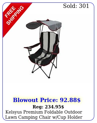 kelsyus premium foldable outdoor lawn camping chair wcup holder canop