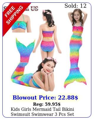 kids girls mermaid tail bikini swimsuit swimwear pcs set costume cosplay u