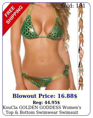 koucla golden goddess women's top bottom swimwear swimsuit bikini set sm