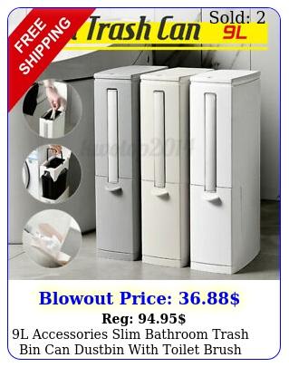 l accessories slim bathroom trash bin can dustbin with toilet brush garbag