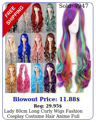 lady cm long curly wigs fashion cosplay costume hair anime full wavy party wi
