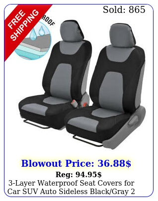 layer waterproof seat covers car suv auto sideless blackgray fron