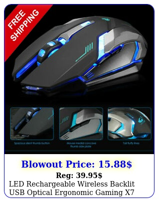 led rechargeable wireless backlit usb optical ergonomic gaming x mouse mice us