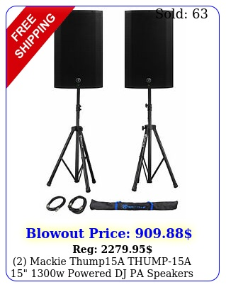 mackie thumpa thumpa w powered dj pa speakers stands cables ba