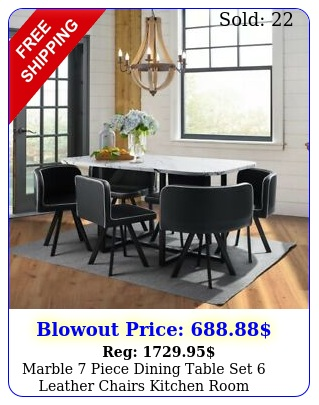 marble piece dining table set leather chairs kitchen room breakfast dinne