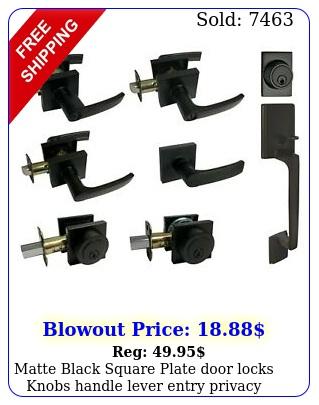 matte black square plate door locks knobs handle lever entry privacy deadbol