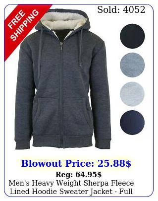 men's heavy weight sherpa fleece lined hoodie sweater jacket full zip sxx