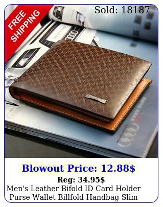 men's leather bifold id card holder purse wallet billfold handbag slim clutc