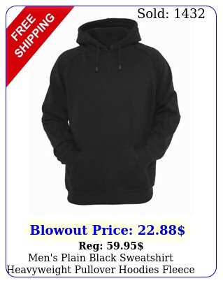 men's plain black sweatshirt heavyweight pullover hoodies fleece cotton hoodi