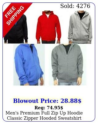 men's premium full zip up hoodie classic zipper hooded sweatshirt cotton sof
