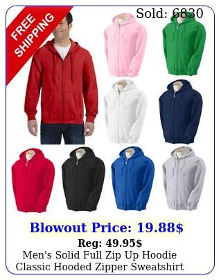 men's solid full zip up hoodie classic hooded zipper sweatshirt cotton unise