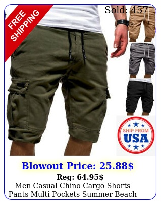 men casual chino cargo shorts pants multi pockets summer beach trousers fashio