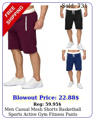 men casual mesh shorts basketball sports active gym fitness pants workout summe