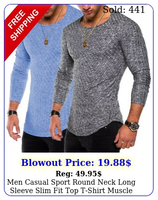 men casual sport round neck long sleeve slim fit top tshirt muscle gym activ