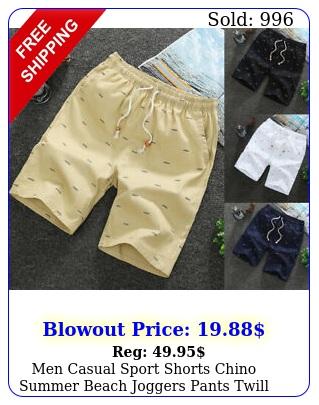 men casual sport shorts chino summer beach joggers pants twill cotton slim fi
