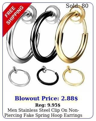 men stainless steel clip on nonpiercing fake spring hoop earrings sensitive ea