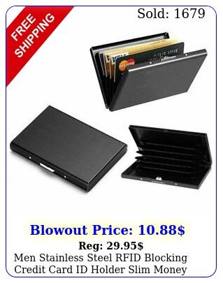 men stainless steel rfid blocking credit card id holder slim money travel walle