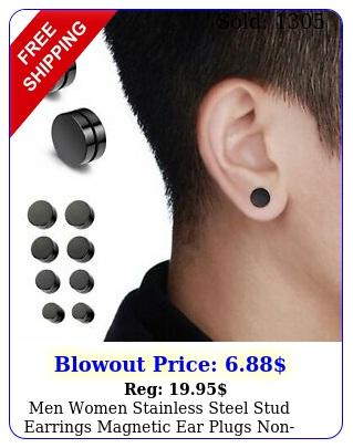 men women stainless steel stud earrings magnetic ear plugs nonpiercing clip o