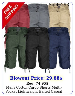 mens cotton cargo shorts multipocket lightweight belted casual relaxed fi