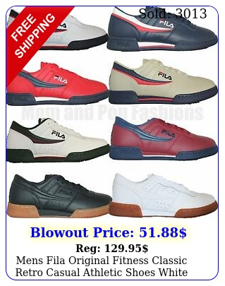 mens fila original fitness classic retro casual athletic shoes white navy re