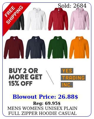 mens womens unisex plain full zipper hoodie casual hooded zip up jacket activ