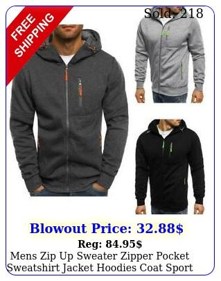 mens zip up sweater zipper pocket sweatshirt jacket hoodies coat sport gy