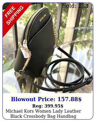 michael kors women lady leather black crossbody bag handbag messenger purse m